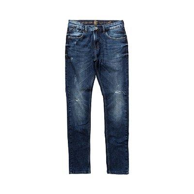 Calça jeans masculina de modelagem slim desgastada - Denim