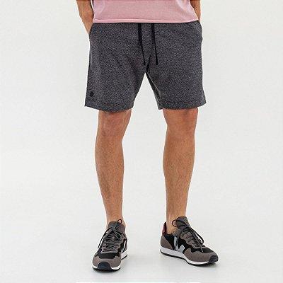 Bermuda moletom masculina com elástico contrastante - Preto