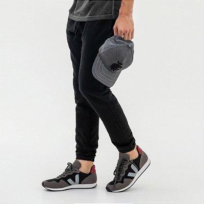 Calça básica de moletom masculina com bolsos - Preto
