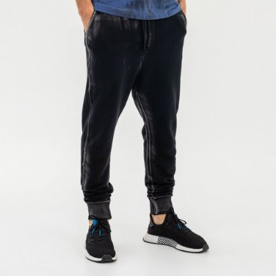 Calça de moletom masculina efeito manual de corrosão - Preto