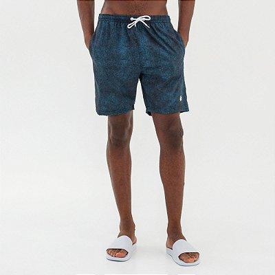 Bermuda de praia elástico na cintura e estampa abstrata - Azul