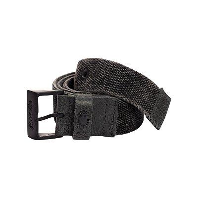 Cinto cadarço largo com fivela metálica personalizada  - Preto