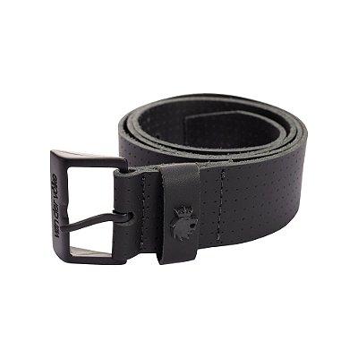 Cinto largo de couro com fivela metálica personalizada - Preto