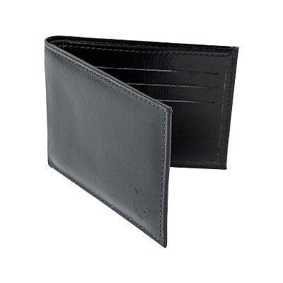 Carteira couro compartimento para 6 cartões - Preto