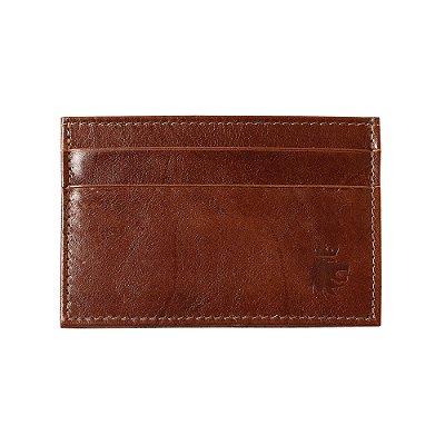 Porta cartões e cnh couro detalhe pesponto - Marrom