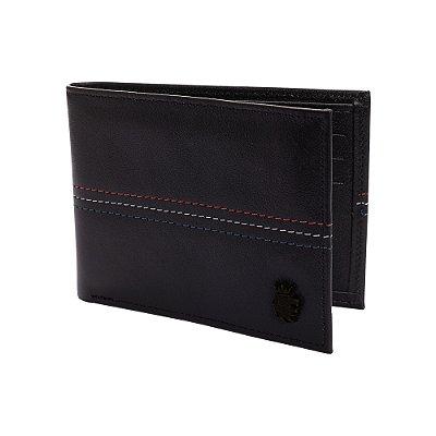 Carteira couro compartimento para 6 cartões detalhe pesponto - Preto