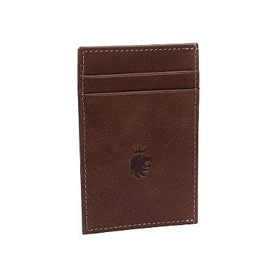 Porta cartões com 4 compartimentos - Marrom