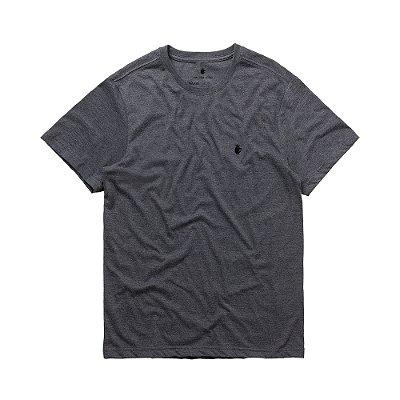 Camiseta básica masculina de gola redonda - Preto Mescla