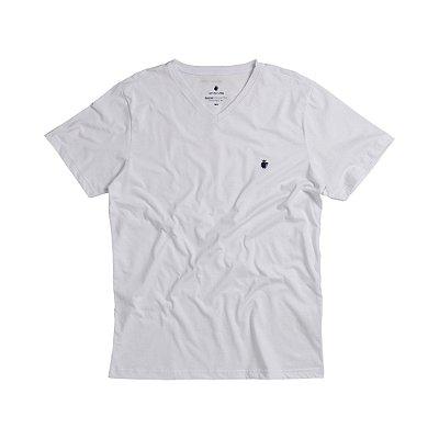 Camiseta básica masculina de gola V - Branco