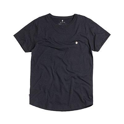Camiseta básica masculina com barra arredondada - Preto