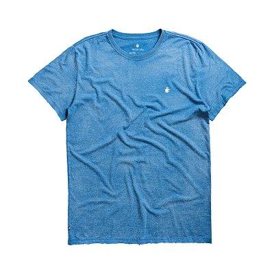 Camiseta básica masculina de manga curta efeito devorê - Azul
