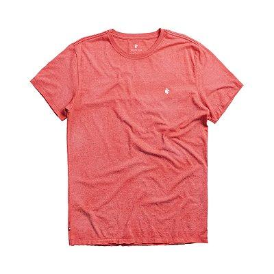 Camiseta básica masculina de manga curta efeito devorê - Vermelho