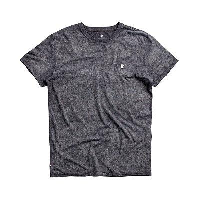 Camiseta básica masculina de manga curta efeito devorê - Preto