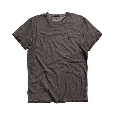 Camiseta masculina de manga curta em malha waffle - Preto