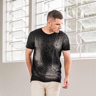 Camiseta masculina listrada com corrosão de manga curta - Preto