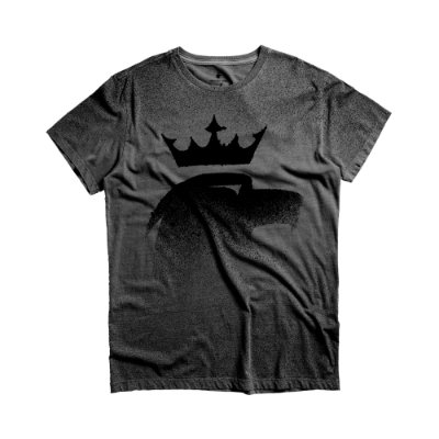 Camiseta masculina estonada com efeito de respingos de manga curta - Preto
