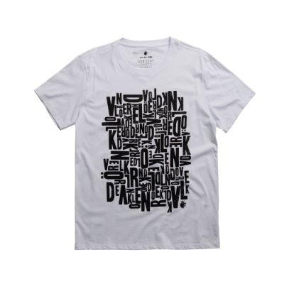 Camiseta masculina manga curta gola redonda estampa lettering Vøn der Völke  - Branco
