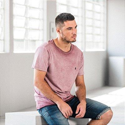 Camiseta masculina de manga curta em malha gase - Roxo