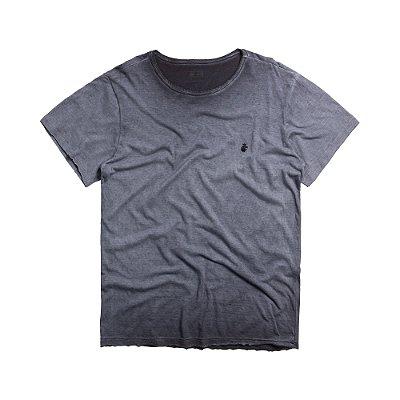 Camiseta masculina de manga curta em malha gase - Azul