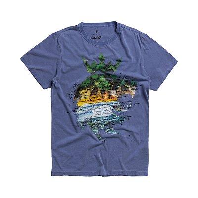Camiseta masculina estonada manga curta leão Vøn der Völke - Azul
