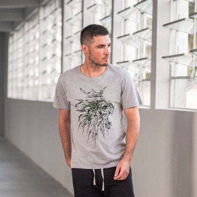 Camiseta masculina dupla face com estampa de leão - Cinza Mescla