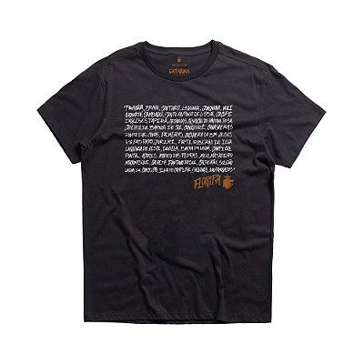 Camiseta masculina manga curta estampa lettering Florianópolis - Preto
