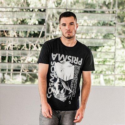 Camiseta de manga curta estampa cosmos e prisma - Preto