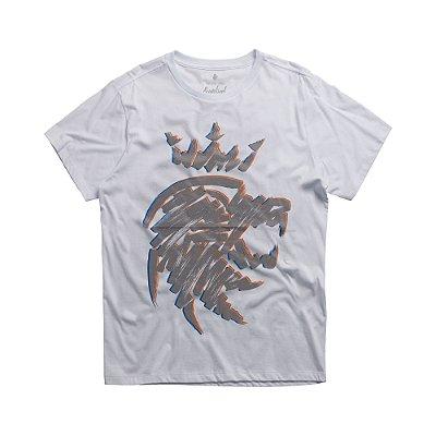 Camiseta masculina manga curta e gola redonda estampa leão Vøn der Völke - Branco