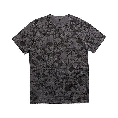 Camiseta masculina estampa de padronagem geométrica e de folhagens - Preto