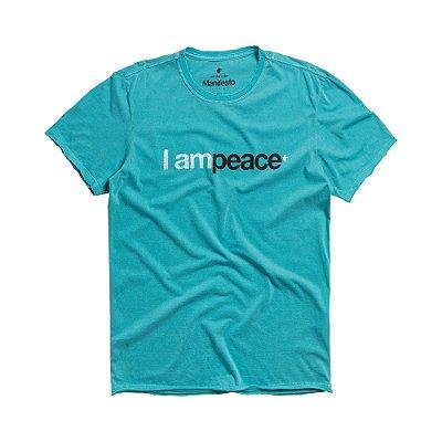 Camiseta masculina estampa lettering I Am Peace - Azul