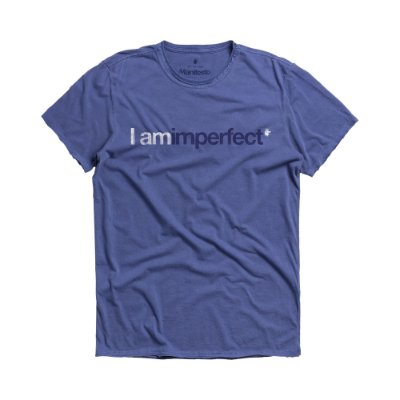Camiseta masculina estampa lettering I Am Imperfect - Azul