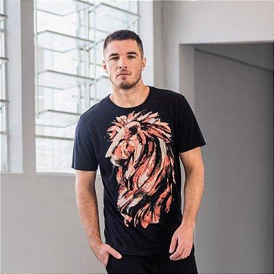 Camiseta masculina de manga curta estampa leão feita à mão - Preto