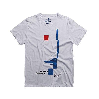 Camiseta masculina gola redonda estampa geométrica De Stjil - Branco
