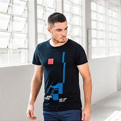 Camiseta masculina gola redonda estampa geométrica De Stjil - Preto
