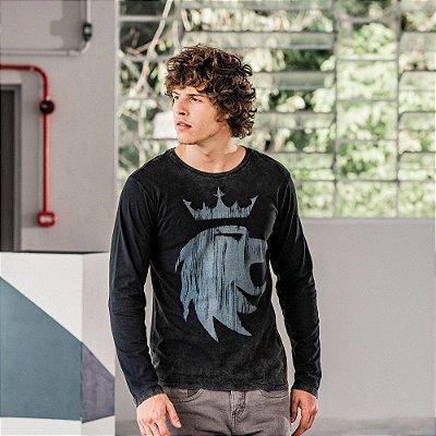 Camiseta masculina manga longa dupla face estampa leão Vøn der Völke - Preto
