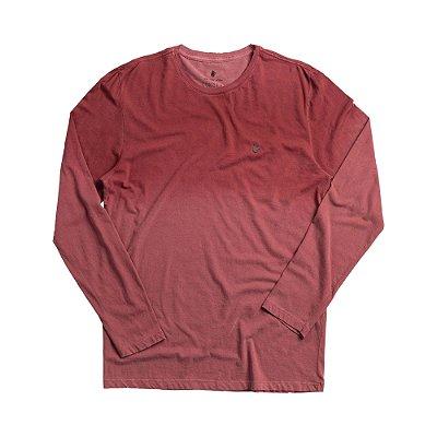 Camiseta masculina manga longa em malha listrada com efeito corrosão - Vermelho