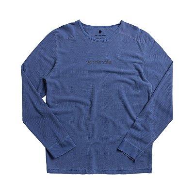Camiseta masculina manga longa em malha waffle estampa lettering - Azul