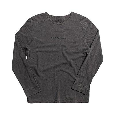 Camiseta masculina manga longa em malha waffle estampa lettering - Preto