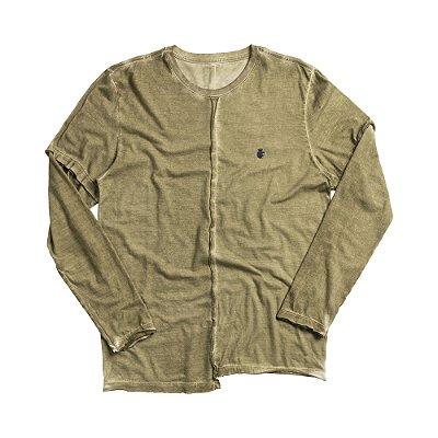 Camiseta masculina dupla face manga longa estampa leão Vøn der Völke - Verde