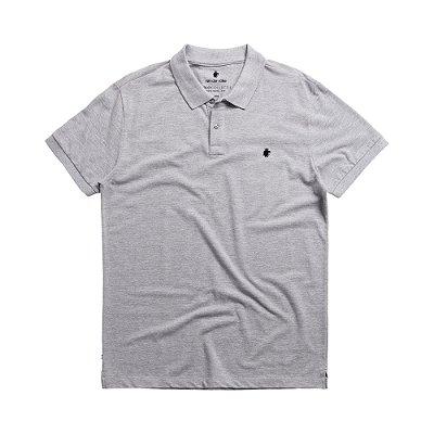 Camisa polo masculina básica em piquet - Cinza Mescla