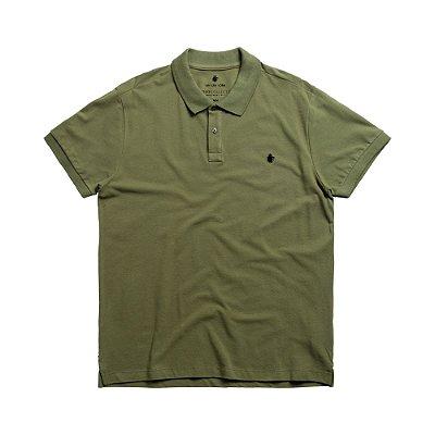 Camisa polo masculina básica em piquet - Verde