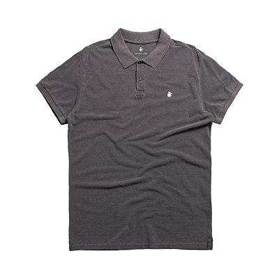 Camisa polo masculina básica estonada em piquet - Preto