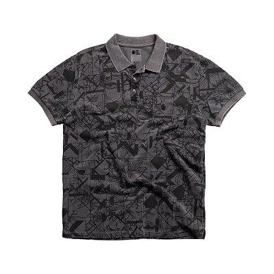 Camisa polo masculina em malha estampa floral geomética - Preto