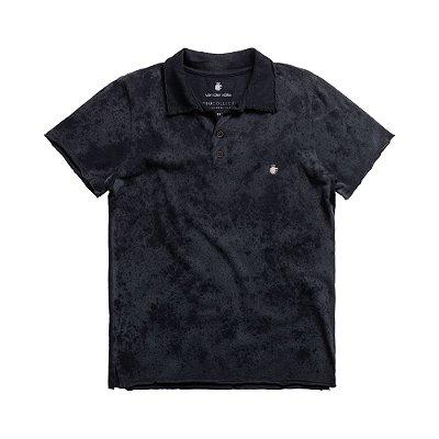 Camisa polo masculina com efeito desbotado - Preto