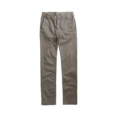 Calça masculina de sarja com elástico no cós modelagem slim - Cinza