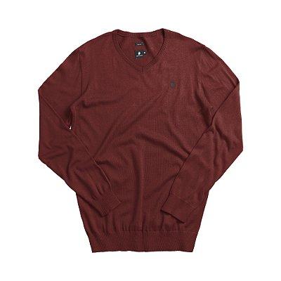 Casaco suéter básico de tricot com decote V - Roxo