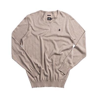 Casaco suéter básico de tricot com gola redonda careca - Bege