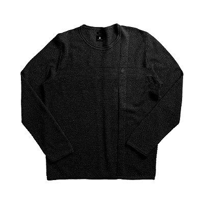 Casaco suéter de tricot com detalhes em jacquard - Preto