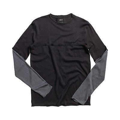 Casaco suéter de tricot detalhe contrastante - Preto