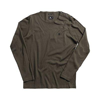 Casaco suéter de tricot detalhe com botões nos ombros - Verde